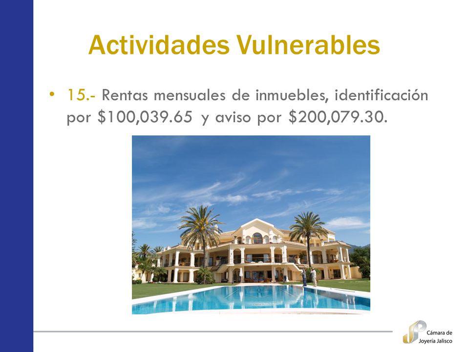 Actividades Vulnerables 15.- Rentas mensuales de inmuebles, identificación por $100,039.65 y aviso por $200,079.30.