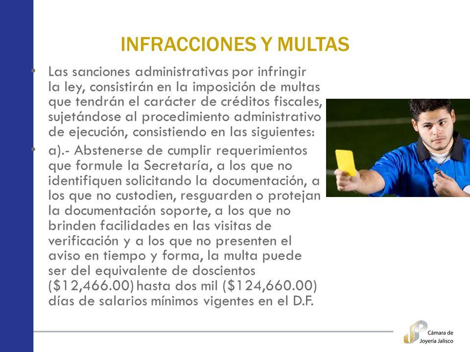 INFRACCIONES Y MULTAS Las sanciones administrativas por infringir la ley, consistirán en la imposición de multas que tendrán el carácter de créditos f