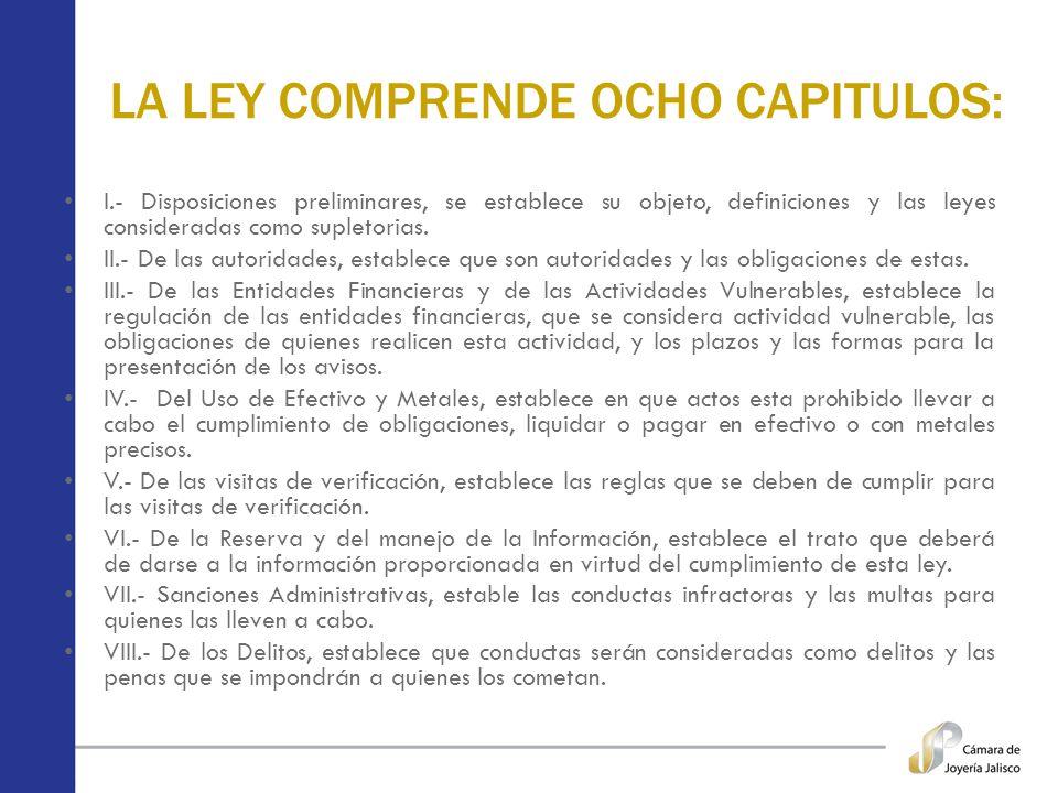 LA LEY COMPRENDE OCHO CAPITULOS: I.- Disposiciones preliminares, se establece su objeto, definiciones y las leyes consideradas como supletorias. II.-