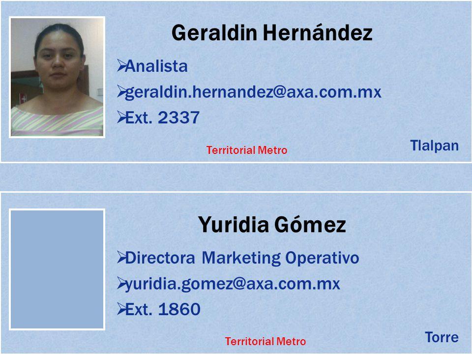Geraldin Hernández Analista geraldin.hernandez@axa.com.mx Ext. 2337 Yuridia Gómez Directora Marketing Operativo yuridia.gomez@axa.com.mx Tlalpan Torre