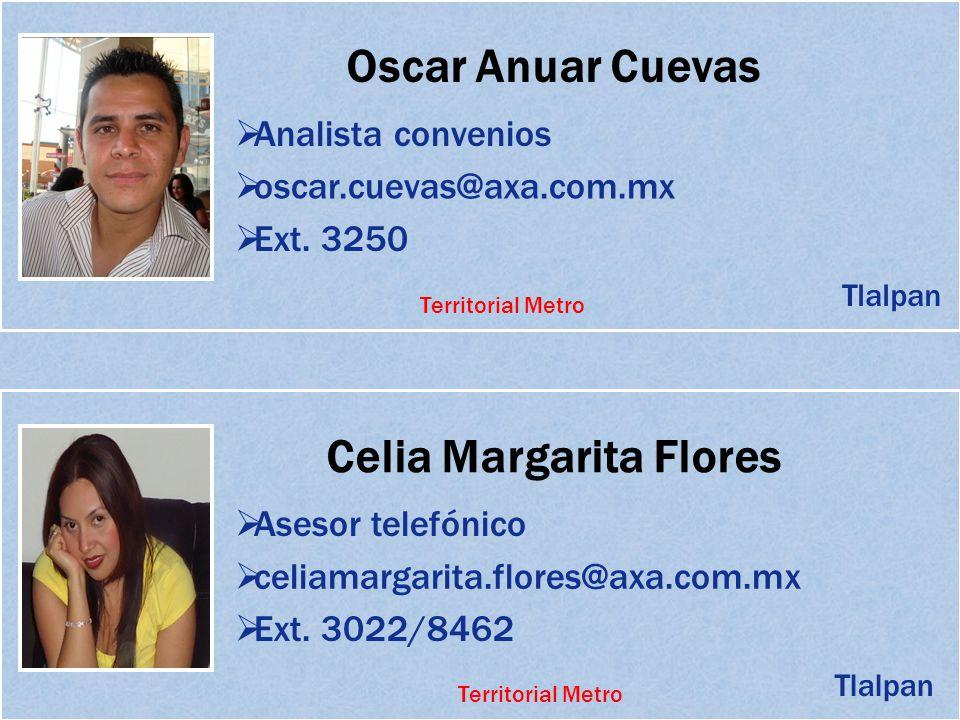 Oscar Anuar Cuevas Analista convenios oscar.cuevas@axa.com.mx Ext. 3250 Celia Margarita Flores Asesor telefónico celiamargarita.flores@axa.com.mx Tlal