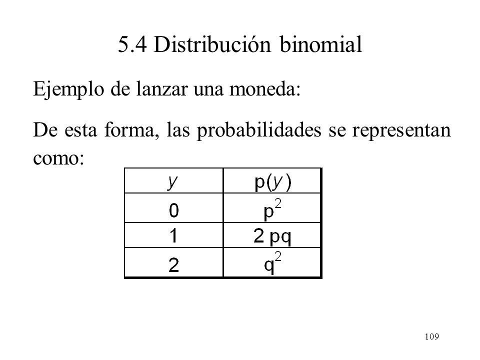 108 5.4 Distribución binomial Ejemplo de lanzar una moneda: P(E 1 ) = P(AA) = P(A)P(A) = p 2 y = 2 P(E 2 ) = P(AS) = P(A)P(S) = pqy = 1 P(E 3 ) = P(SA