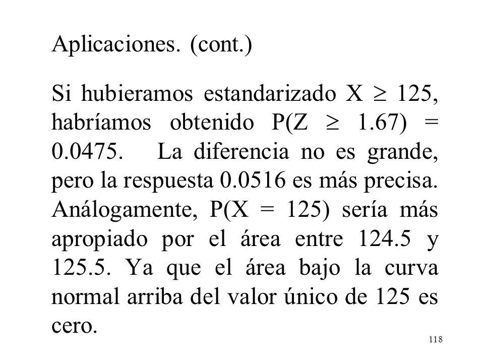 117 Aplicaciones. (cont.) Los rectángulos del histograma están centrados como enteros, y los CI de por lo menos 125 corresponden a rectángulos que se