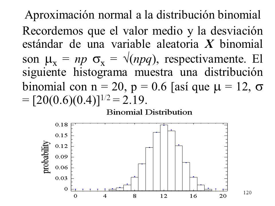 119 Aplicaciones. (cont.) La corrección para la discretización de la distribución subyacente se llama con frecuencia corrección de continuidad. Es úti