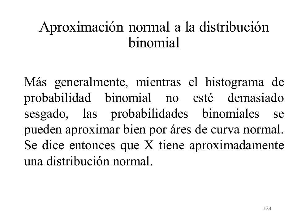 123 Aproximación normal a la distribución binomial El área de cualquier rectángulo (probabilidad de cualquier valor de X particular), excepto los de l