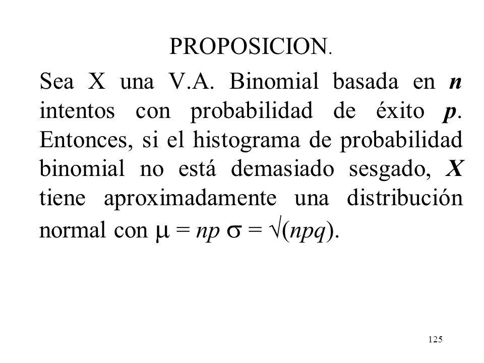 124 Aproximación normal a la distribución binomial Más generalmente, mientras el histograma de probabilidad binomial no esté demasiado sesgado, las pr