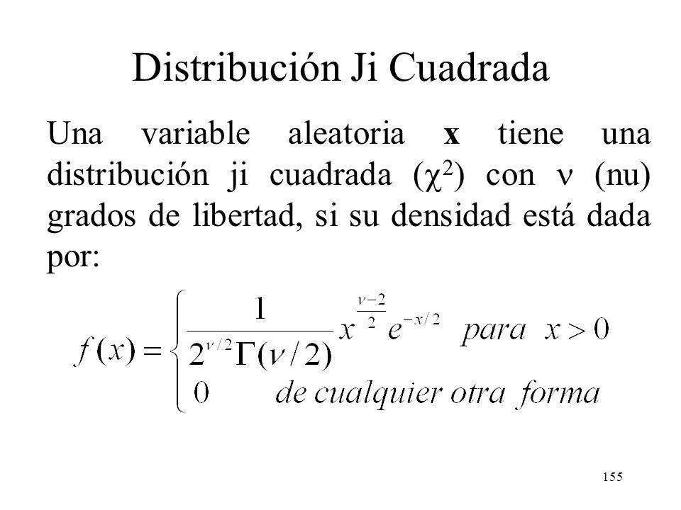 154 Distribución Ji Cuadrada (Relación con la distribución normal) Si X tiene distribución normal estándar, entonces X 2 tiene la distribución gama es