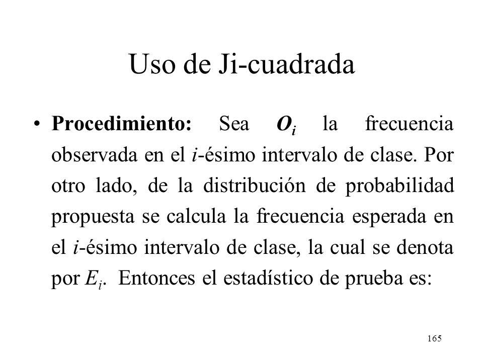 164 Uso de Ji-cuadrada Procedimiento: El procedimiento consiste en comparar una muestra aleatoria, con una distribución propuesta teórica. Se requiere