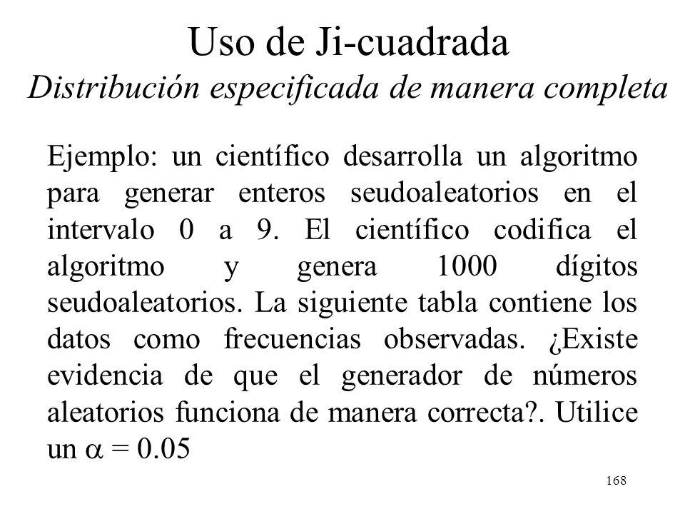 167 Uso de Ji-cuadrada Esta aproximación mejora a medida que n aumenta. Debe rechazarse la hipótesis de que la distribución de la población es la dist