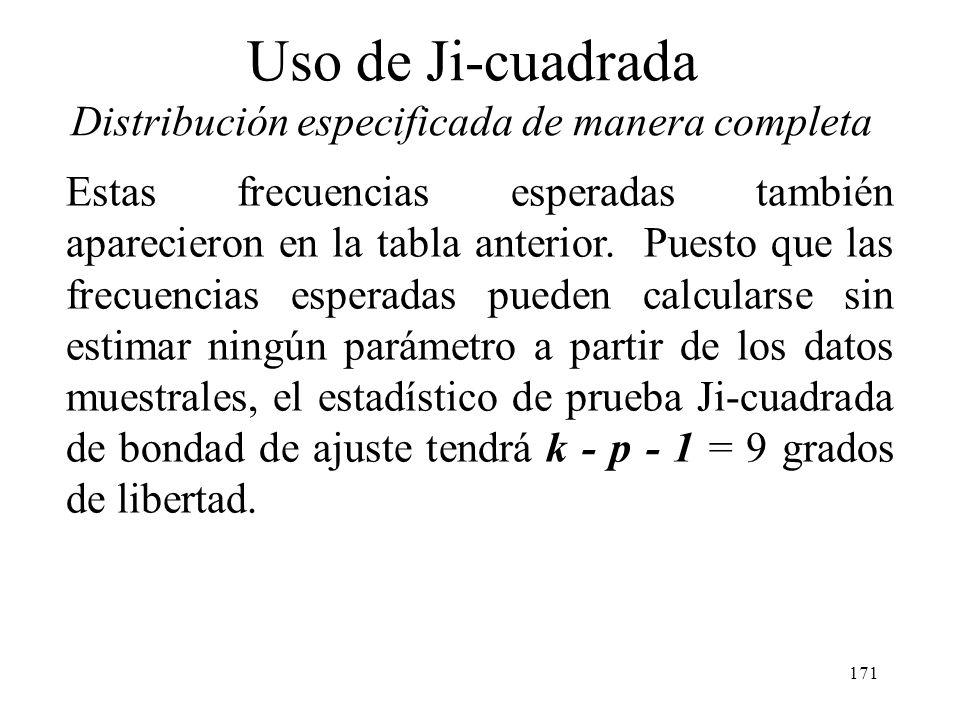 170 Uso de Ji-cuadrada Distribución especificada de manera completa Si el generador de números aleatorios trabaja correctamente, entonces los valores