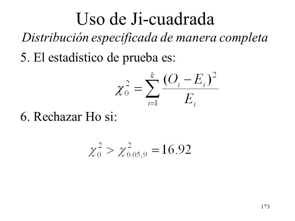 172 Uso de Ji-cuadrada Distribución especificada de manera completa Aplicamos el procedimiento siguiendo los siguientes pasos: 1. La variable de inter