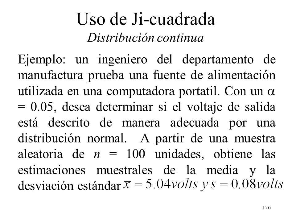 175 6.3 Empleo de Chi-Cuadrada en pruebas de Bondad de Ajuste de Normalidad