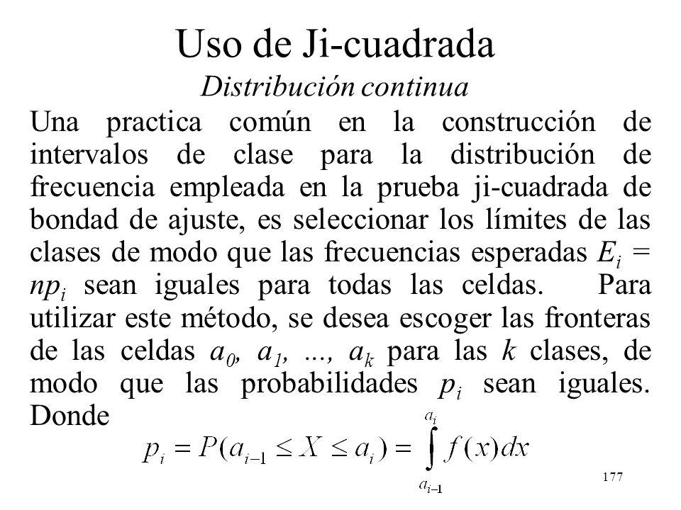176 Uso de Ji-cuadrada Distribución continua Ejemplo: un ingeniero del departamento de manufactura prueba una fuente de alimentación utilizada en una
