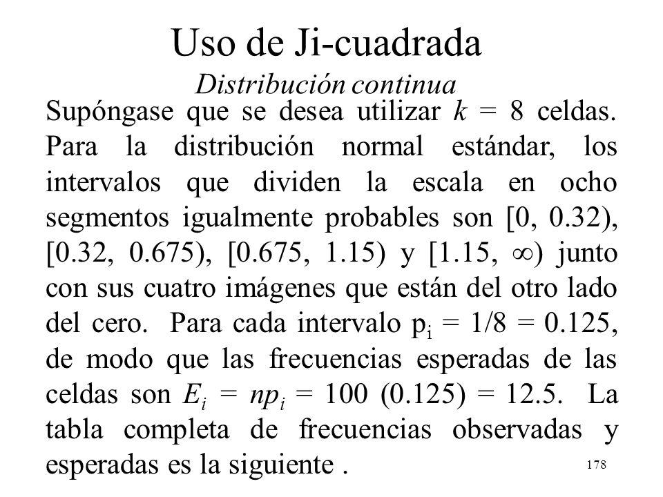 177 Uso de Ji-cuadrada Distribución continua Una practica común en la construcción de intervalos de clase para la distribución de frecuencia empleada