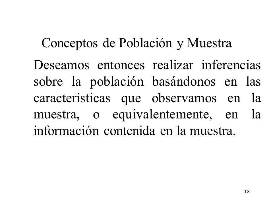 17 Se ha manejado que la estadística moderna es la teoría de la información, cuyo objetivo es la inferencia. Nuestro interés se centra en un grupo de