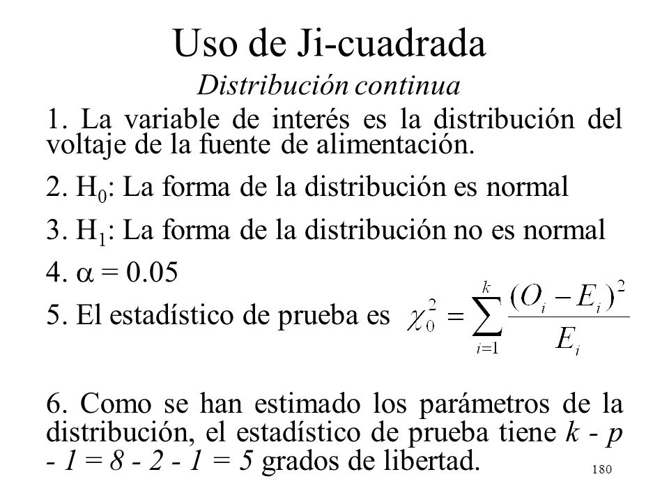 179 Uso de Ji-cuadrada Distribución continua