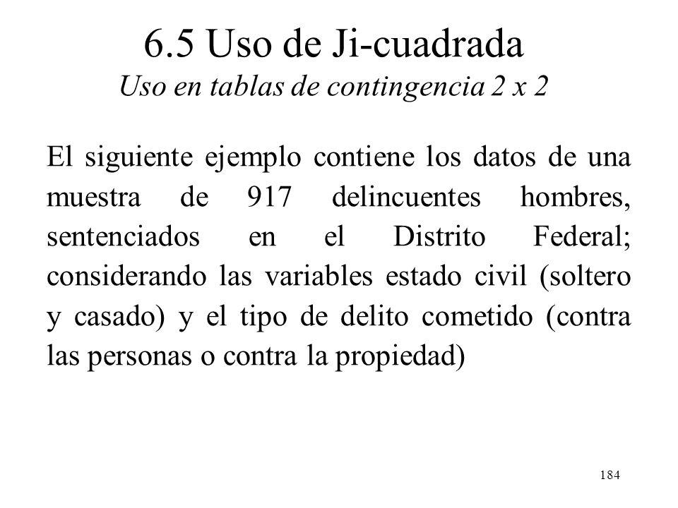 183 Uso de Ji-cuadrada Otra aplicación de la distribución Ji-cuadrada es en tablas de contingencia. Una tabla de contingencia es una tabla de frecuenc