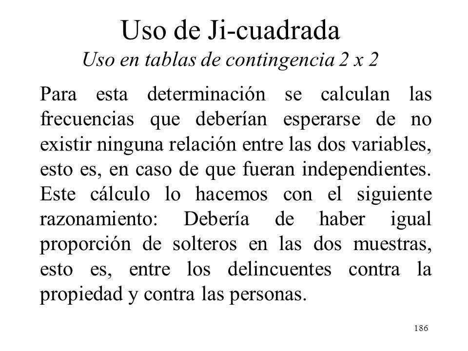 185 Uso de Ji-cuadrada Uso en tablas de contingencia 2 x 2 Lo que se quiere determinar es la existencia o no de asociación entre el estado civil y el