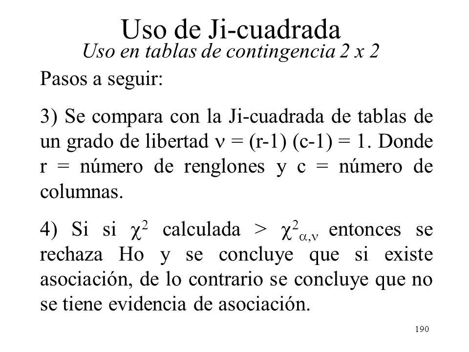189 Uso de Ji-cuadrada Uso en tablas de contingencia 2 x 2 Pasos a seguir: 1) Se desea probar si existe una asociación entre el estado civil y el tipo