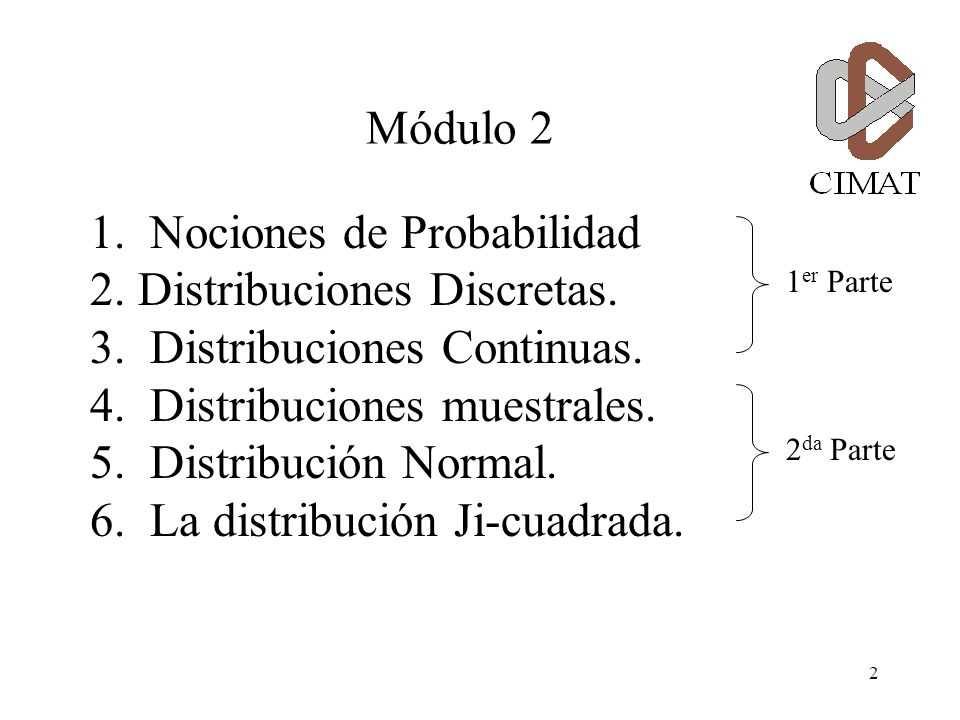 1 Módulo 2 Segunda Parte Especialidad en Métodos Estadísticos Centro de Investigación en Matemáticas, A. C. rabreu@cimat.mx