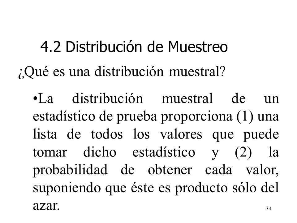 33 Entrando al tema del muestreo probabilístico es importante definir y entender lo que es una distribución de muestreo. ¿Qué es una distribución mues