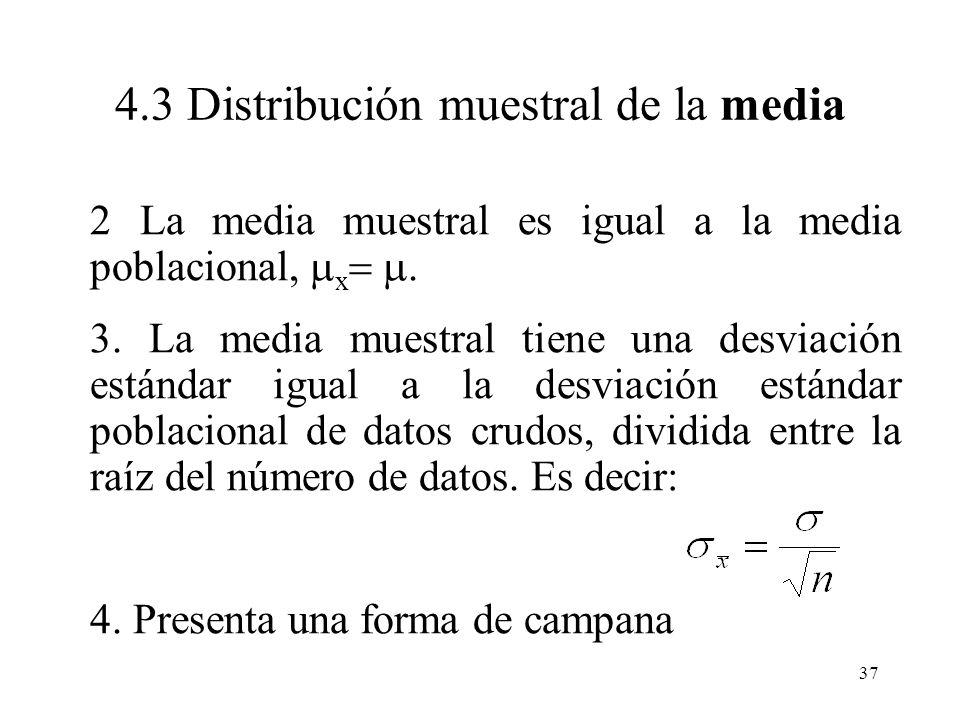 36 La distribución muestral de la media proporciona todos los valores que puede tomar la media, junto con la probabilidad de obtener cada valor si el