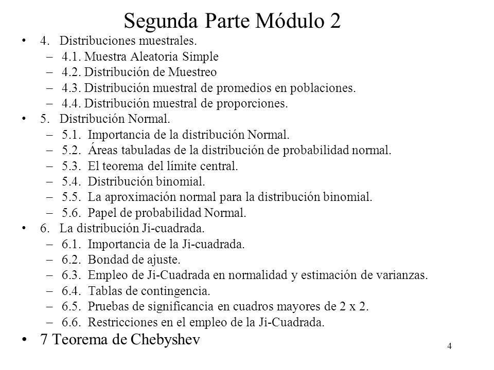 54 Teorema del límite central Teorema 2 Si X 1, X 2,..., X n constituyen una muestra aleatoria de una población infinita que tiene la media y la varianza 2, entonces la distribución límite de: Cuando n, es la distribución normal estándar.