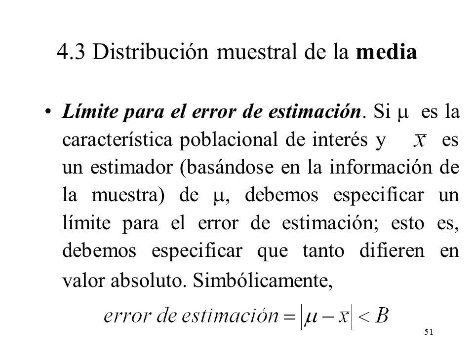 50 Distribución muestral aproximada de la media para N = 10000, con media poblacional = 40 y tamaño de muestra n =300