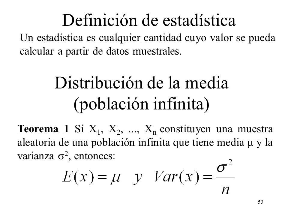 52 Definición 1: Si X 1, X 2,..., X n son variables aleatorias independientes e idénticamente distribuidas, decimos que constituyen una muestra aleato