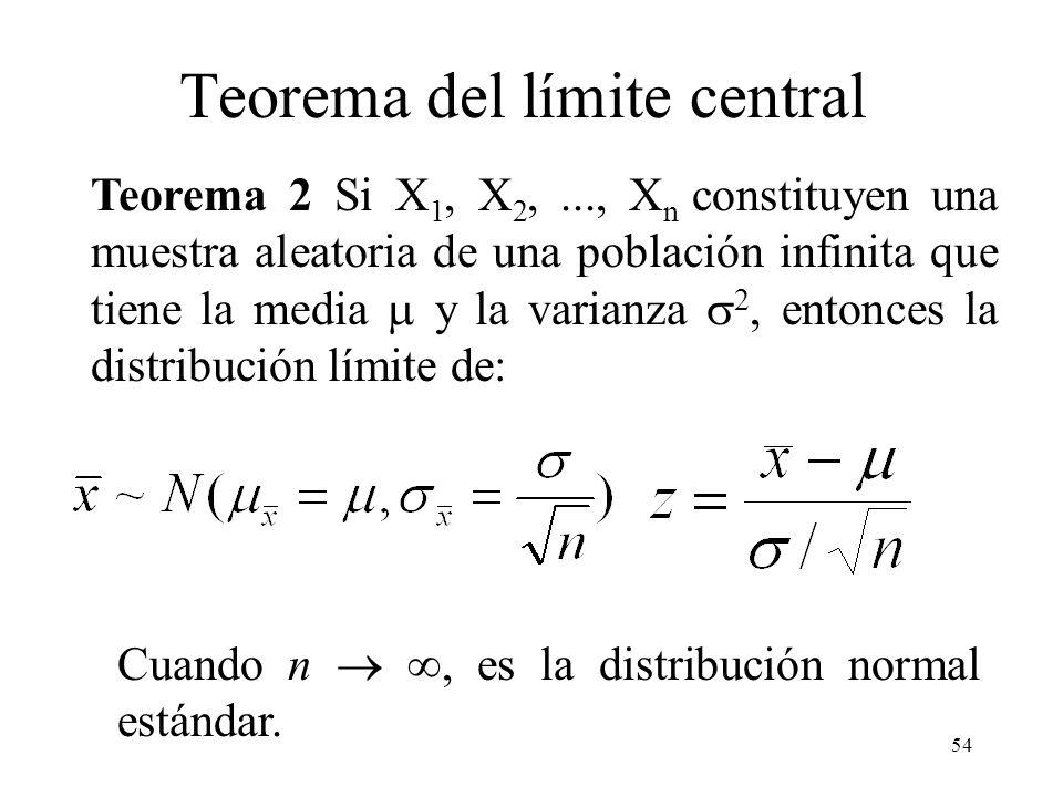 53 Distribución de la media (población infinita) Teorema 1 Si X 1, X 2,..., X n constituyen una muestra aleatoria de una población infinita que tiene