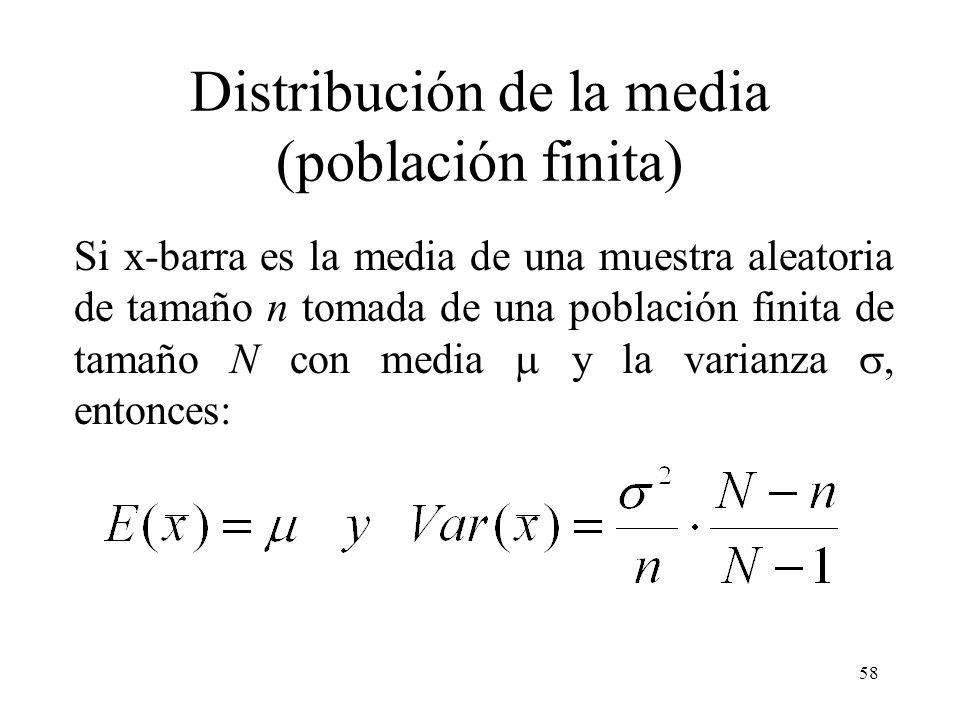 57 Ejemplo Según el teorema 1, la distribución de x-barra tiene la media x = 200 y la desviación estándar x =15/ 36 = 2.5, de acuerdo con el teorema d