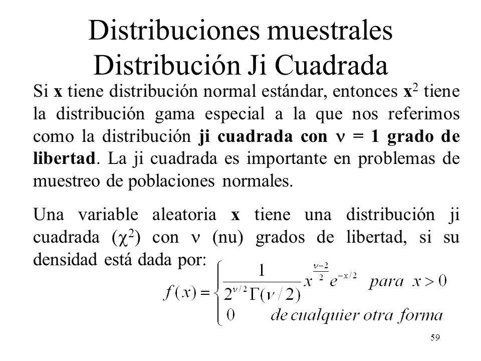 58 Distribución de la media (población finita) Si x-barra es la media de una muestra aleatoria de tamaño n tomada de una población finita de tamaño N