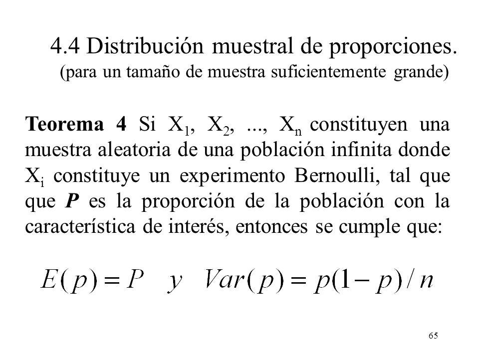 64 Definición 4 Si X 1, X 2,..., X n constituyen una muestra aleatoria de un experimento binomial, entonces: Se denomina proporción de la muestra y es
