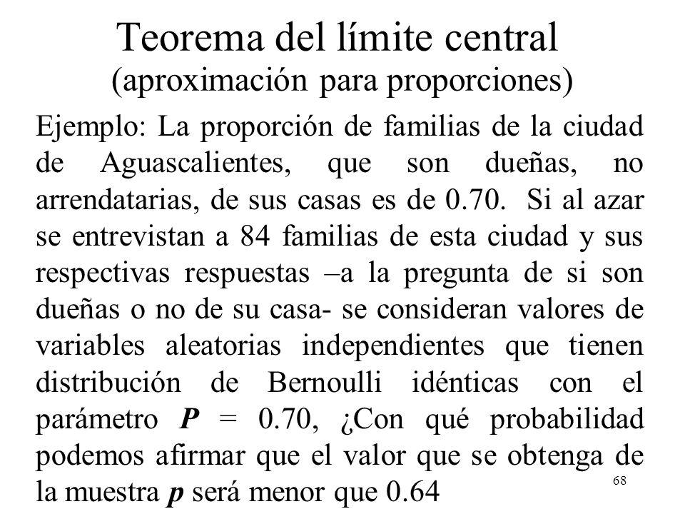 67 Teorema del límite central (aproximación para proporciones) También se puede ver este resultado como dada una muestra aleatoria X 1, X 2,..., X n d