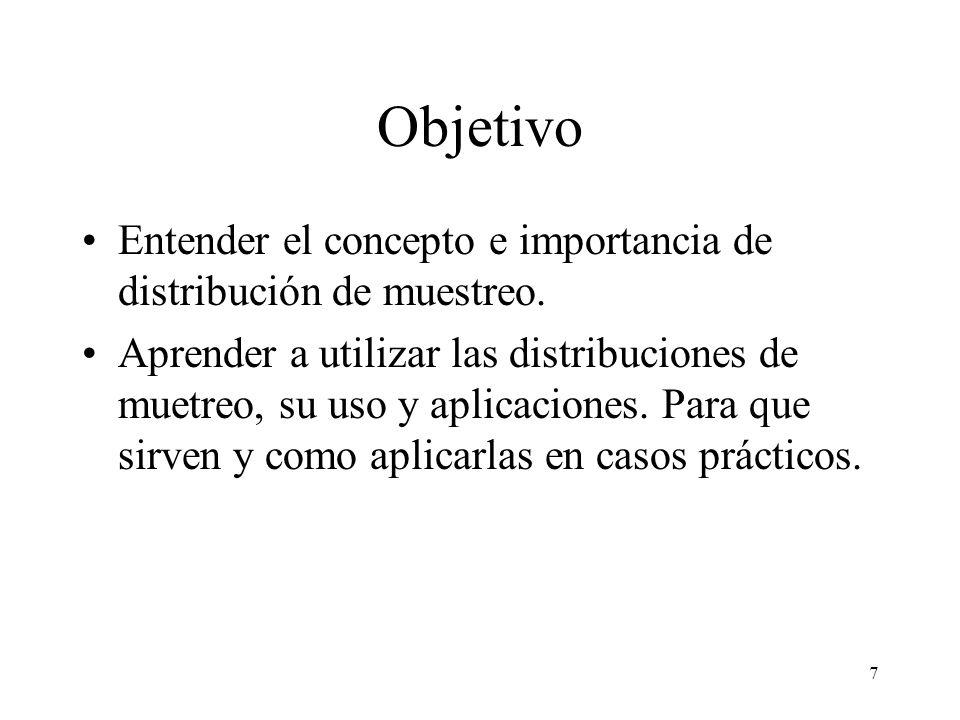 Objetivo Entender el concepto e importancia de distribución de muestreo.