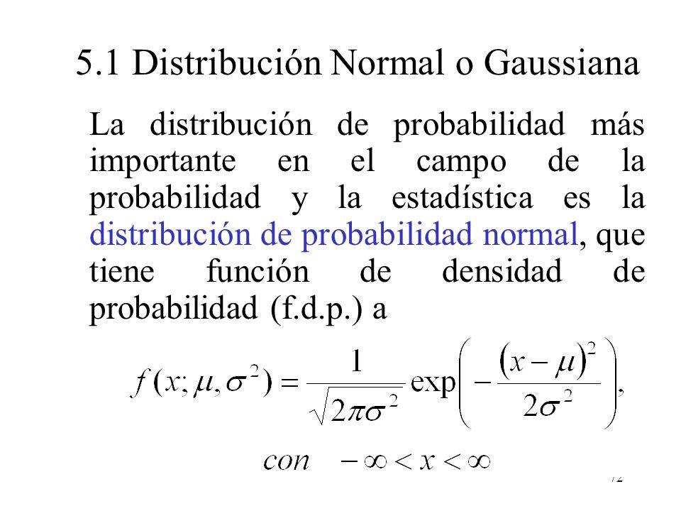 71 5.0 Distribución Normal o Gaussiana