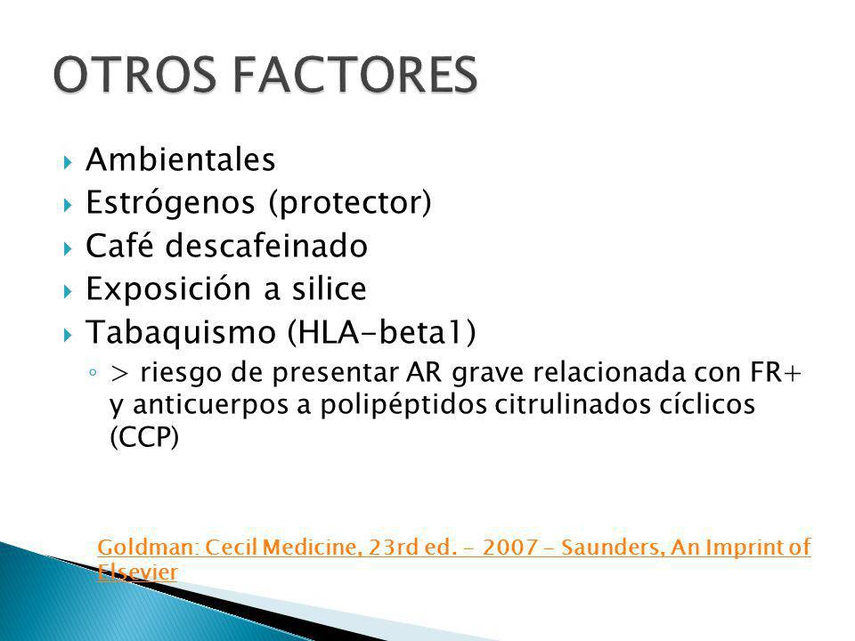 Ambientales Estrógenos (protector) Café descafeinado Exposición a silice Tabaquismo (HLA-beta1) > riesgo de presentar AR grave relacionada con FR+ y a