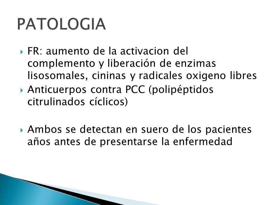 FR: aumento de la activacion del complemento y liberación de enzimas lisosomales, cininas y radicales oxigeno libres Anticuerpos contra PCC (polipépti