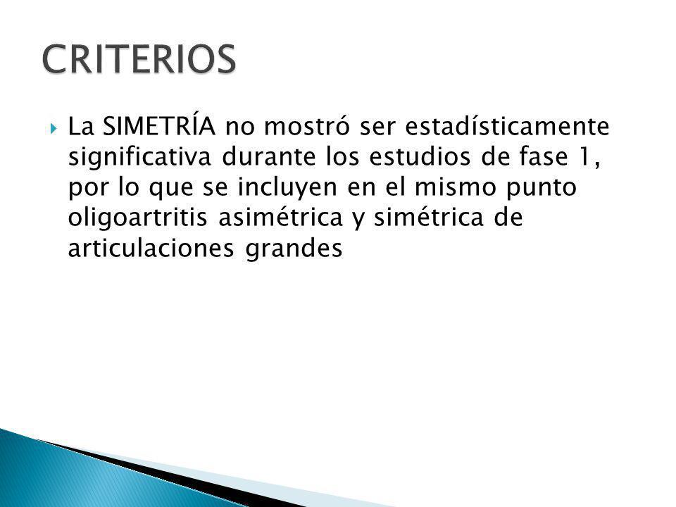 La SIMETRÍA no mostró ser estadísticamente significativa durante los estudios de fase 1, por lo que se incluyen en el mismo punto oligoartritis asimét
