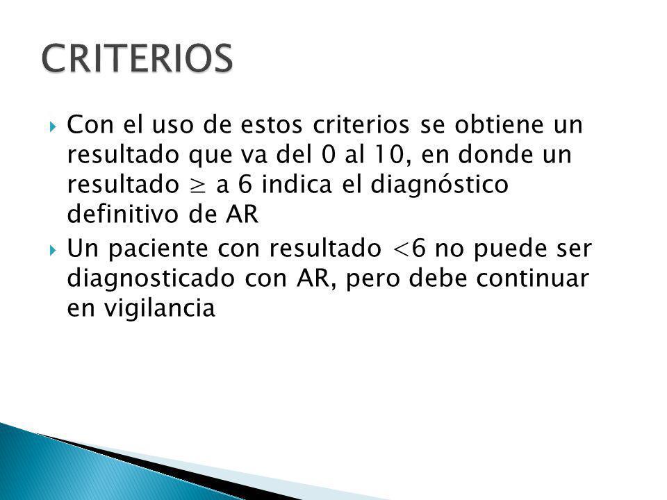 Con el uso de estos criterios se obtiene un resultado que va del 0 al 10, en donde un resultado a 6 indica el diagnóstico definitivo de AR Un paciente