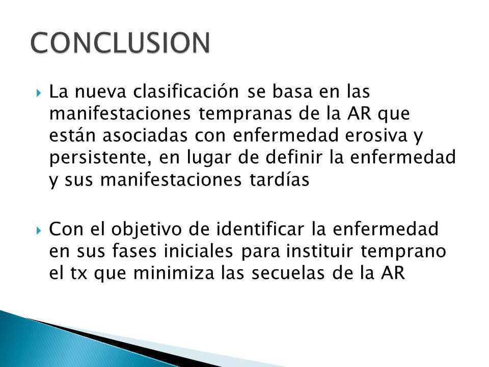 La nueva clasificación se basa en las manifestaciones tempranas de la AR que están asociadas con enfermedad erosiva y persistente, en lugar de definir