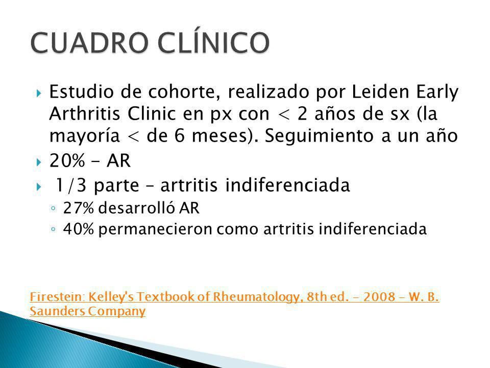Estudio de cohorte, realizado por Leiden Early Arthritis Clinic en px con < 2 años de sx (la mayoría < de 6 meses). Seguimiento a un año 20% - AR 1/3