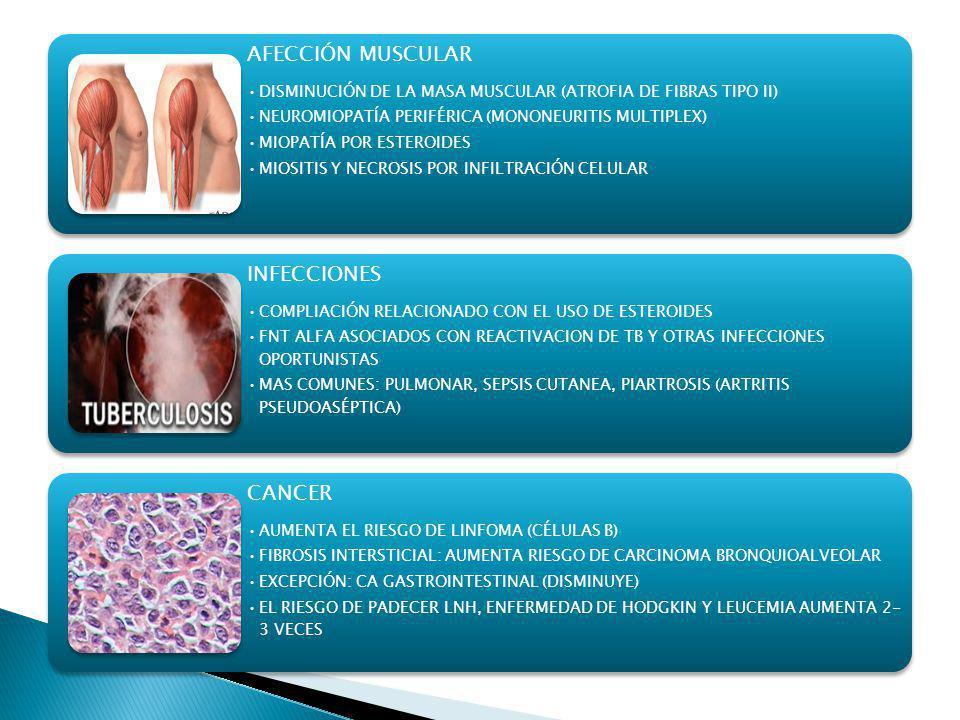 AFECCIÓN MUSCULAR DISMINUCIÓN DE LA MASA MUSCULAR (ATROFIA DE FIBRAS TIPO II) NEUROMIOPATÍA PERIFÉRICA (MONONEURITIS MULTIPLEX) MIOPATÍA POR ESTEROIDE