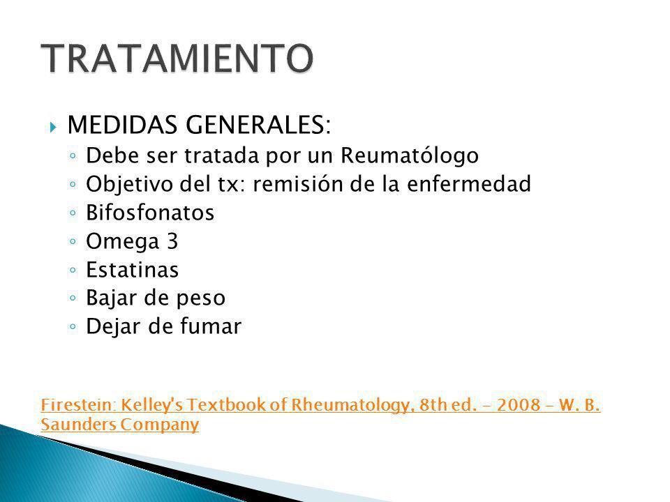MEDIDAS GENERALES: Debe ser tratada por un Reumatólogo Objetivo del tx: remisión de la enfermedad Bifosfonatos Omega 3 Estatinas Bajar de peso Dejar d