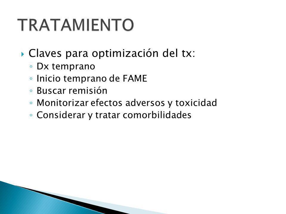 Claves para optimización del tx: Dx temprano Inicio temprano de FAME Buscar remisión Monitorizar efectos adversos y toxicidad Considerar y tratar como