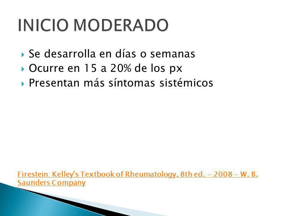 Se desarrolla en días o semanas Ocurre en 15 a 20% de los px Presentan más síntomas sistémicos Firestein: Kelley's Textbook of Rheumatology, 8th ed. -