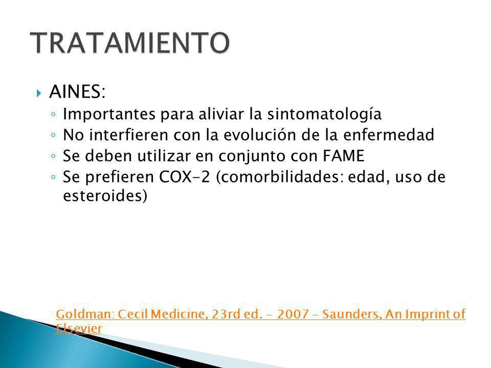 AINES: Importantes para aliviar la sintomatología No interfieren con la evolución de la enfermedad Se deben utilizar en conjunto con FAME Se prefieren