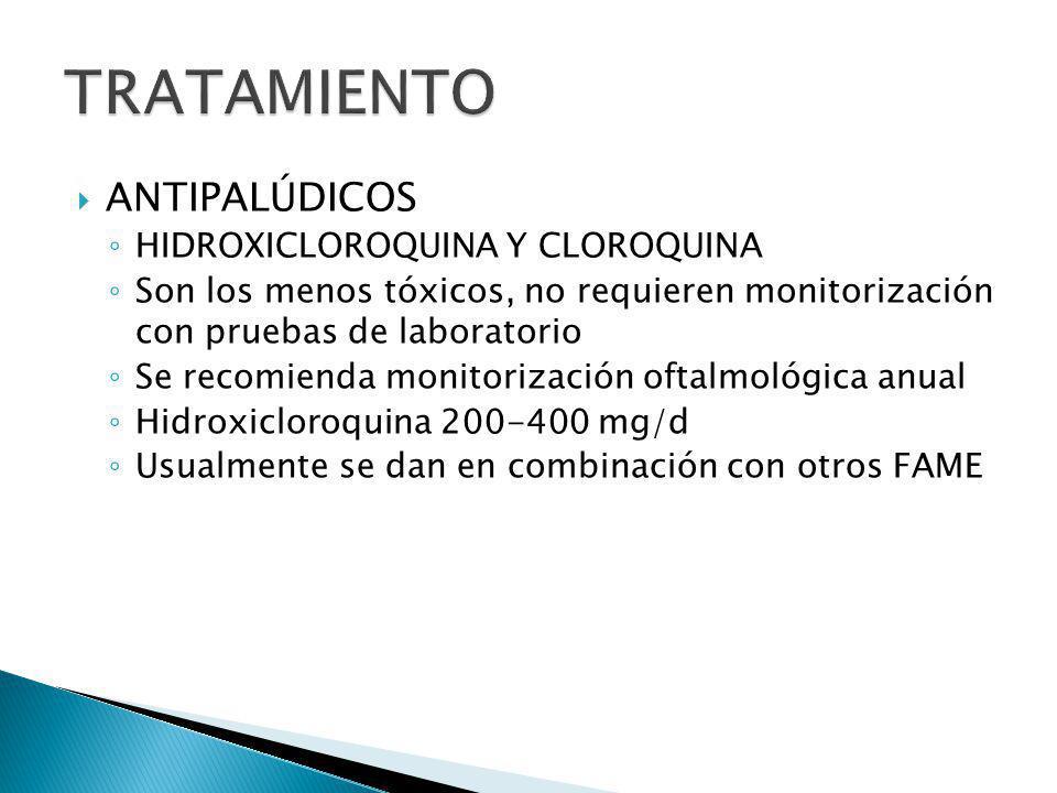 ANTIPALÚDICOS HIDROXICLOROQUINA Y CLOROQUINA Son los menos tóxicos, no requieren monitorización con pruebas de laboratorio Se recomienda monitorizació