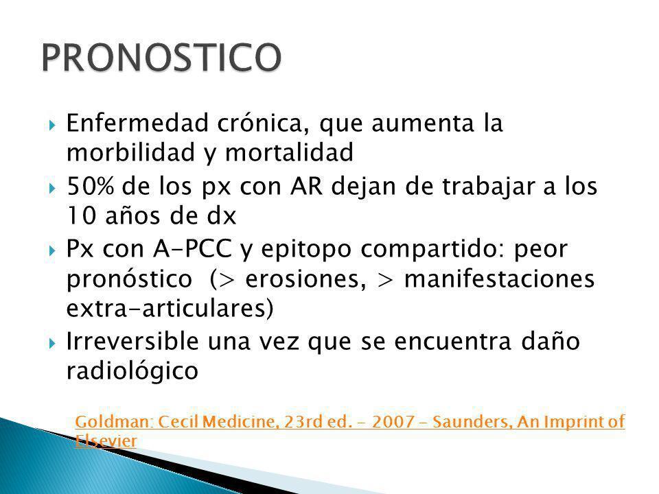 Enfermedad crónica, que aumenta la morbilidad y mortalidad 50% de los px con AR dejan de trabajar a los 10 años de dx Px con A-PCC y epitopo compartid