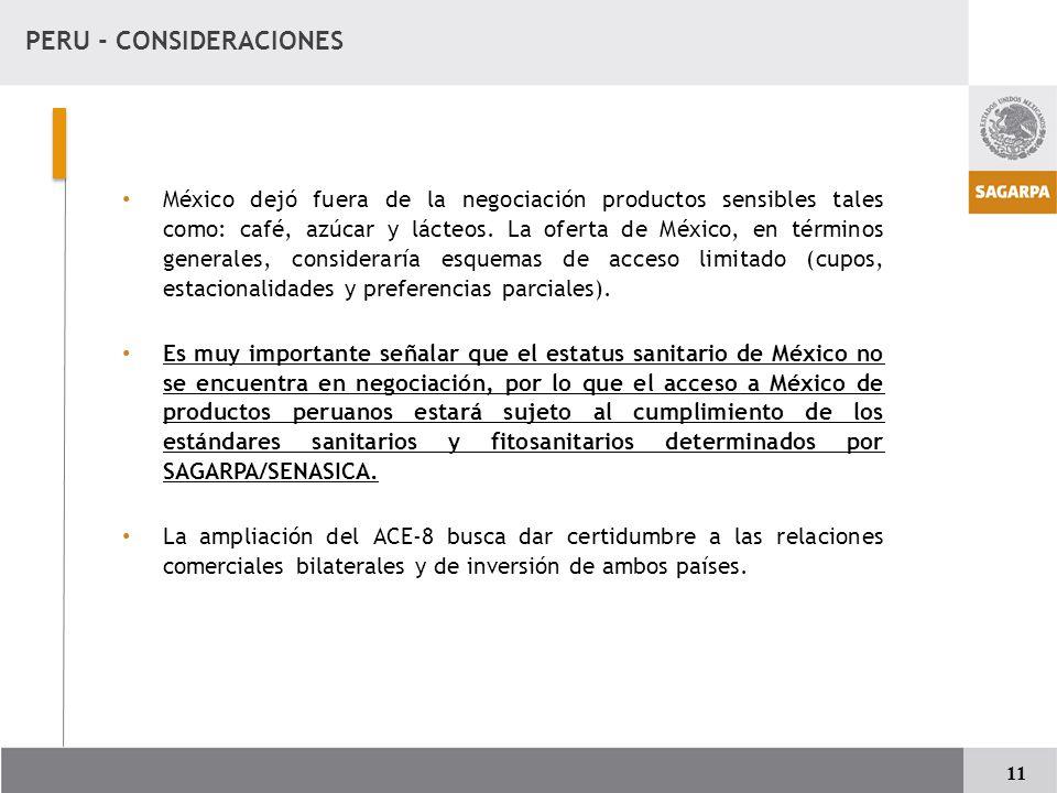 PERU - CONSIDERACIONES México dejó fuera de la negociación productos sensibles tales como: café, azúcar y lácteos.